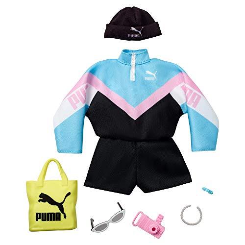 Barbie- Fashion Vestiti per Bambola Brandizzati Puma con Tuta, Cappello e Accessori, Giocattolo per Bambini 3+ Anni, Multicolore, GJG31