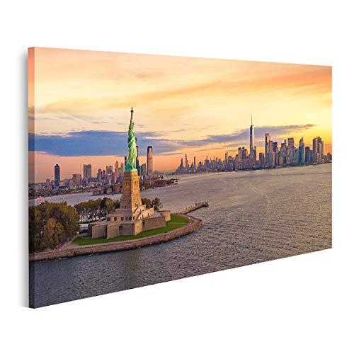 Cuadro en lienzo Estatua de la libertad Ciudad de Nueva York Manhatttan Fondo puesta de sol EE. UU.