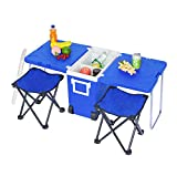 NOBLJX 28L Camping Wheeled Coolers & Cool Box - Foldable Outdoor Picnic Table