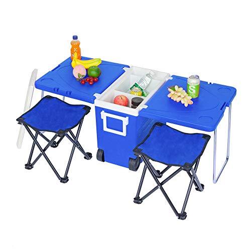 NOBLJX 28L Camping-Radkühler & Kühlbox - Zusammenklappbarer Picknicktisch Für Den Außenbereich Mit 2 Hockern, Multifunktionalem Rollkühlwagen Für BBQ, Festivals Und Wohnwagen