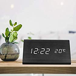 Yeslike Digital Alarm Clock, Triangle Wooden Clock with LED Time Display, 3 Alarm Settings, Large Display Time Temperature USB/Battery Powered for Home, Office, Kids