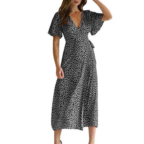 Read About T Shirt Dress,Women Summer Deep V-Neck Leopard Short Sleeve Long Maxi Party Beach Dress G...