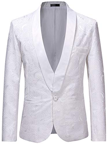ZEROYAA Men's 1 Button Shawl Collar Wedding Dress Suit White Rose Jacquard Dinner Jacket Prom Tuxedo ZZST02 White X Large