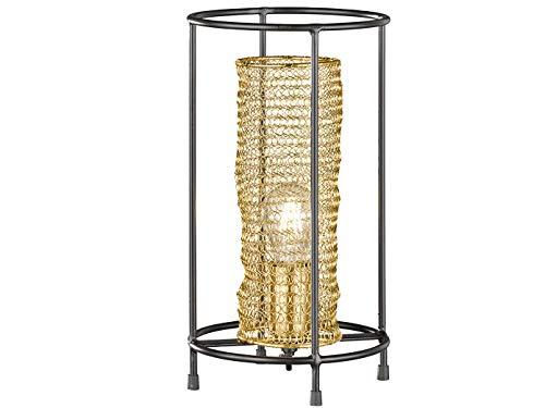 Honsel Lampe de table avec tresse métallique dorée et filament LED Noir