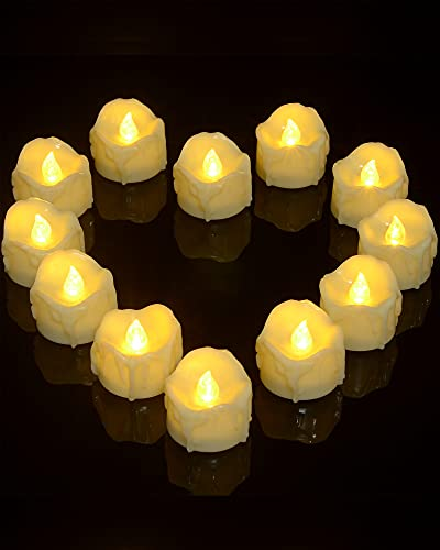 Ymenow Velas con temporizador sin llama, 12 piezas pilas LED velas parpadeantes con temporizador de 6 horas, cera falsa goteo y cuerpo de velas beige para casa boda decoración – blanco cálido