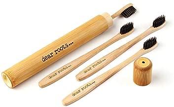 Bambú Cepillo de dientes de 4 set de viaje con funda - Mano Cepillo de dientes con mango de madera de bambú 100% - biodegradable, Vegano) & sin BPA - Cabezal pequeño cepillo & cerdas