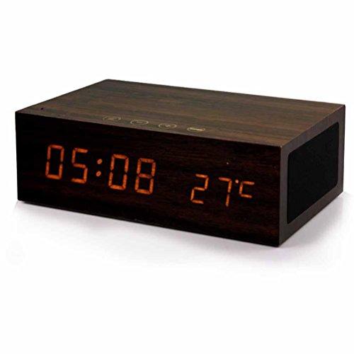 DD Subwoofer Creatieve Tijd Alarm Klok Bed Geluid, Hout Bluetooth Speakers, USB Opladen Walnoot