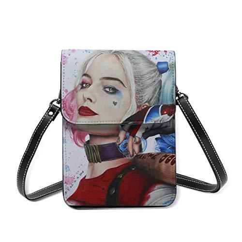 XCNGG Monedero pequeño para teléfono celular Har-Ley Qu-Inn Leather Cell Phone Purse Crossbody Bags Small Shoulder Bag Travel Wallet Handbag With Adjustable Strap