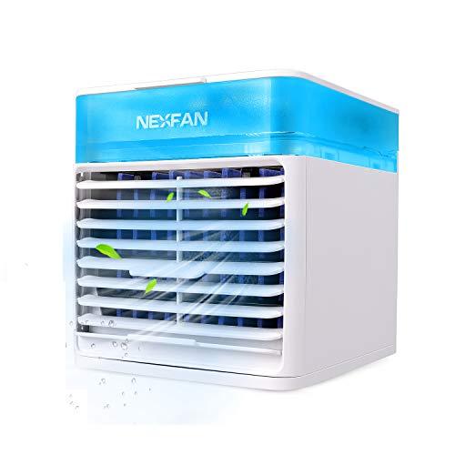 Esolom Mini Luftkühler Mobiles Klimagerät USB Klimaanlage Mobil Persönliche Air Cooler Tragbar Klein Verdunstungskühler Mit Wasserkühlung, 3 Geschwindigkeiten für Raum, Zuhause, Büro, Wohnheim