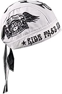 Hot Leathers Ride Fast Ride Forever Head Wrap (White)