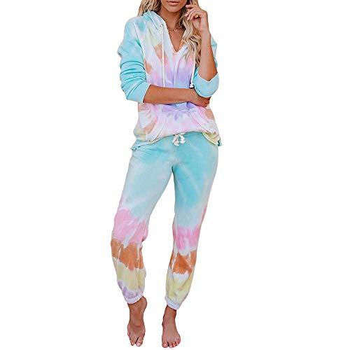 Ropa Deporte Completo Mujer Tie-Dye Conjuntos 2 Piezas Chándal Completo Manga Larga Top Sudadera con Capucha + Pantalones Deporte Multicolores para Casual