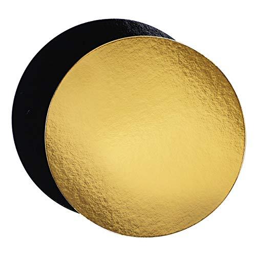 Juego de 10 soportes para pasteles en cajas de colores, con Tallas de su elección (Dorado/Negro, 28 cm)