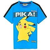 Pokemon Camiseta Manga Corta Niño, Camisetas Niño De Pikachu, Camisetas De Algodón para Niños, Regalo Cumpleaños para Niños, Tallas 5-14 Años (Azul, 13-14 años)