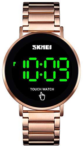 Touch Screen Digital LED Waterproof Men Womens Sport Casual Stainless Steel Wrist Watch (B Rose Gold)