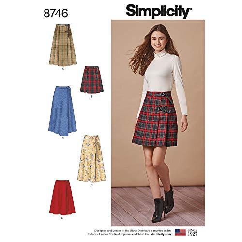Simplicity Schnittmuster für Damenrock, D-Ring, Größen 34-42