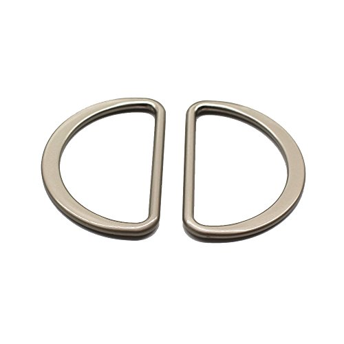 YaHoGa 10pcs Metal D Ring 2 Inch (Outside Size) Satin Nickel Plated Non Welded Large Size D-Rings for Buckle Straps Bags Belt (45mm)