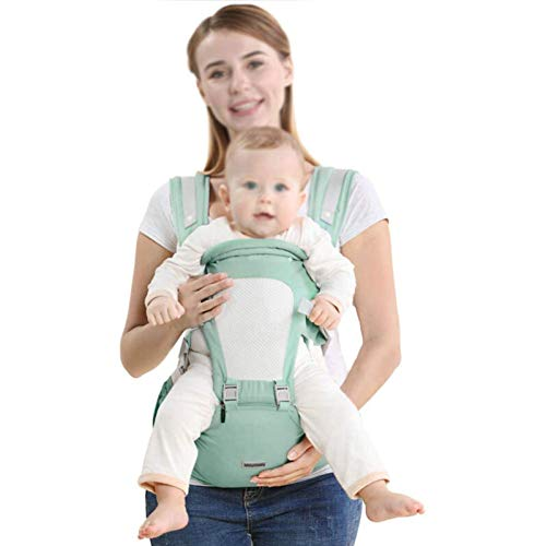 HTTIB Child Carrier, 3 In 1 Baby Convertible Carriers with Hip Seat 360° Ergonomic 6 Positon Breathable Mesh for Infant Toddler (Color : Green)