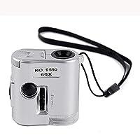 Ledライト付きハンドヘルド60倍高倍率虫眼鏡ポータブル顕微鏡ジュエリーの識別100