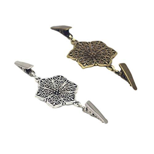 Fenical 4 stücke Pullover Clip Vintage Hexagon Pullover Schal Schals Verschluss Strickjacke Kragen Kleider Stecker Schnalle für Frauen Mädchen (Bronze Silber)