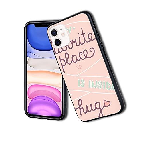 Funda protectora híbrida a prueba de golpes, diseño híbrido de lujo a la moda, tu abrazo es mi lugar favorito con un patrón romántico de paleta de colores suaves, adecuado para iPhone