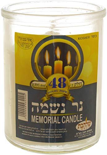 Kosher Ner Neshama in einem Glas - koscher Jahrzeit und Jom Kippur für jüdische Gedenkstätte - judische Kerze 48S Grablicht. Aus Israelischer Fabrik