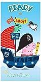Hiper Toalla de Playa Infantil Toalla de ba;o Toalla de Licencia Disney(Colores, 70 * 140) Peppa Pig-Pirata