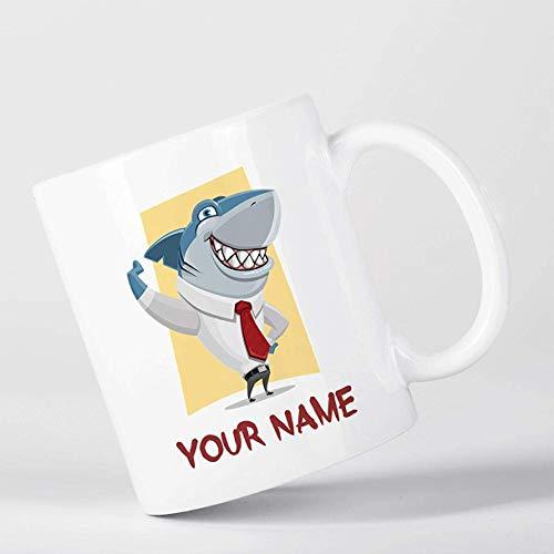 11 oz koffiemok, theekopje, aangepaste haai pak dier kinderen kinderen gepersonaliseerde mok, cadeau voor kinderen, wit
