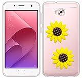 Sunrive Für Asus Zenfone 4 Selfie Pro ZD552KL Hülle Silikon, Transparent Handyhülle Schutzhülle Etui 3D Case für Asus Zenfone 4 Selfie Pro ZD552KL(Gelbe Sonnenblume) MEHRWEG