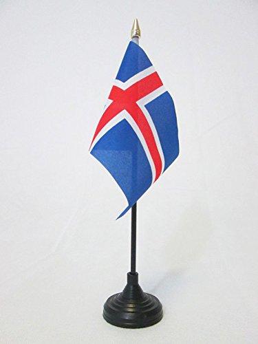 AZ FLAG TISCHFLAGGE Island 15x10cm goldene splitze - ISLÄNDISCHE TISCHFAHNE 10 x 15 cm - flaggen