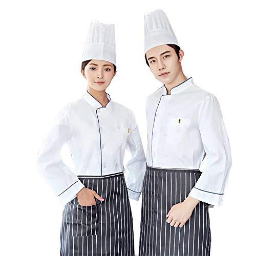WYCDA kookjack lange mouwen hotel kookkleding uniform twee rijen met gevoelige zakken 50% katoen slim stijl geschikt voor hotel restaurant thuis thea house