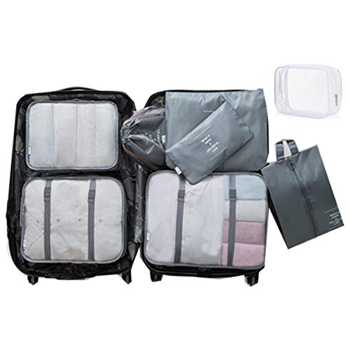 8 Set Packing Cubes - WantGor 6 Travel Organizer Luggage Compression Pouches + 1 Shoes Bag+ 1 Clear Toiletry Bag (1# Grey)