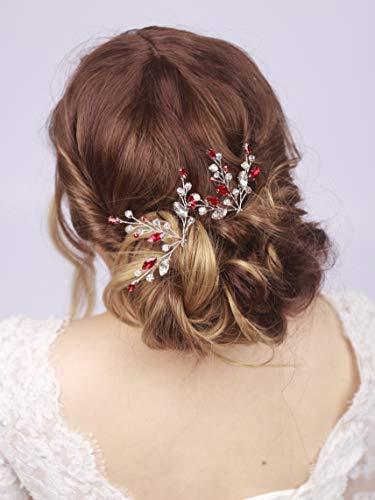 Kercisbeauty Haarnadeln mit roten Kristallen für Hochzeit, Brautschmuck, Haarschmuck, für Braut, Damen, Mädchen, besondere Anlässe, Abschlussball, Party