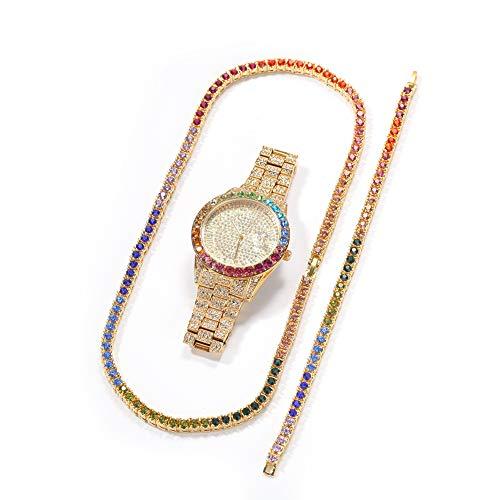Alloy Color Diamond Armband Halskette Uhr Dreiteiliges Set, Damen/Herren Runde Luxusuhr mit Farbzifferblatt und Bling Bling Diamond Zeitanzeigen