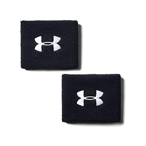 Under Armour Men's 3-inch Performance Wristband 2-Pack , Black (001)/White , One Size Fits All