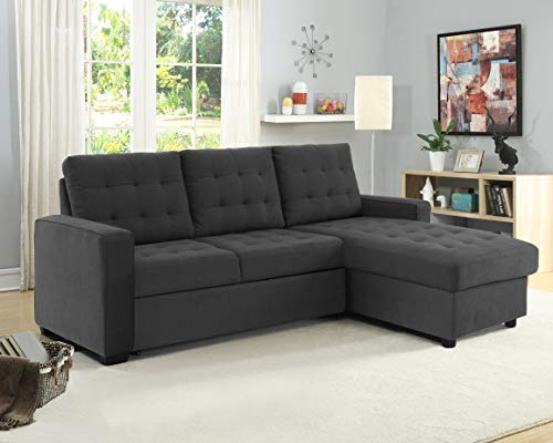 Serta Bakersfield Convertible Sofa with Storage Microfiber Fabric, Steel Grey