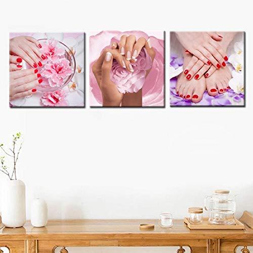 3 Pcs Mur Art Toile Imprimé Peinture Maquillage Nail Yoga Spa Corps Salon Massage Modulaire Mur Photo Panneau Impressions sur Toile Décor À La Maison 16\