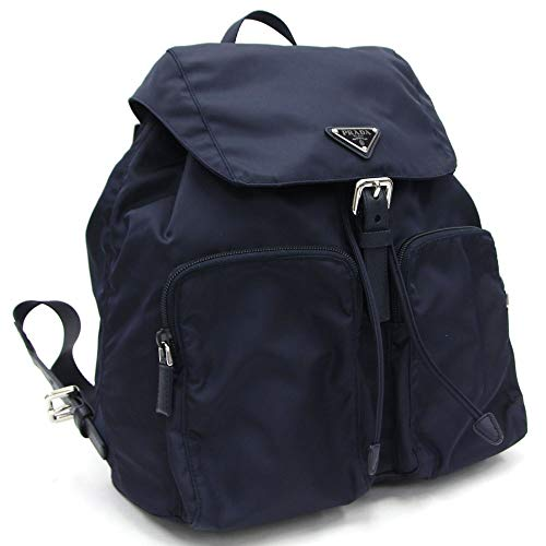 Prada Zainetto Unisex Navy Tessuto Nylon Backpack Rucksack Leather Trim 1BZ005