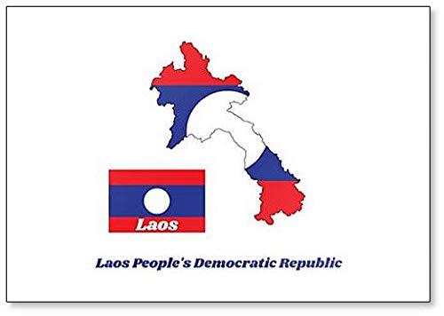 Kühlschrankmagnet, Motiv Landkarte & Flagge von Laos