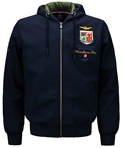 JIINN Men's Mode Loisir épais Base-Ball Broderie Veste Bomber Air Force Jacket L'automne Hiver Chaud Militaires Hommes Sweat à Capuche Sweat-Shirt Manteau (EU 2X-Large, FR#1613 Blue)