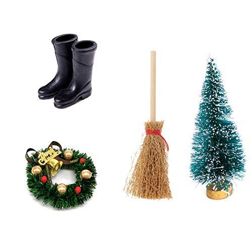 TOPofly Puppenhaus-Weihnachtskranz, 6ccm Puppenstuben Mini Regen Stiefel Besen Garland Weihnachtsbaum Set für Puppen Ornament Handwerk Zubehör (4PCS / Set)
