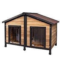 Casa ben fatta: La cuccia da esterno per piccoli animali è realizzata in legno d'abete naturale, nessun odore in particolare. È anche caratterizzata che il tetto spiovente in bitume è impermeabile e l'acqua defluisce più facile. Dotato di tende in PV...