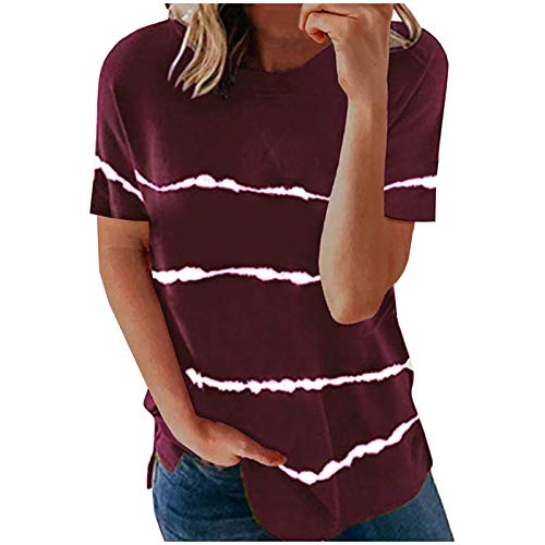 AMhomely Camiseta de manga corta con estampado de rayas y cuello en V para mujer, talla grande