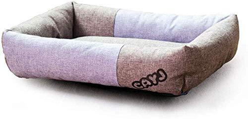 YLCJ Bed voor huisdieren Ademend Linnen Borduurbed Kussen voor honden Kussen Traditionele bank in woonkamer stijl met stijf ademend katoen voor katten (Kleur: PURPLR, Maat: L), M, PURPLR