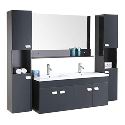 Muebles para baño Modelo Elegance 120 cm para cuarto de baño con espejo baño grifos mueble + 1 espejo + repisas + grifería + fregadero nuev