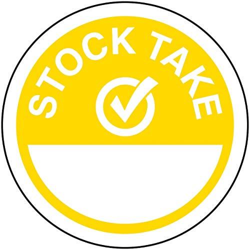 VSafety Stock Take Write On Yellow Sticker - 50mm Diameter (rol van 250)
