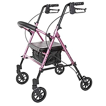 Carex Step  N Rest Aluminum Rolling Walker For Seniors Pink - Rollator Walker With Seat - With Back Support 6 Inch Wheels 250lbs Support Lightweight