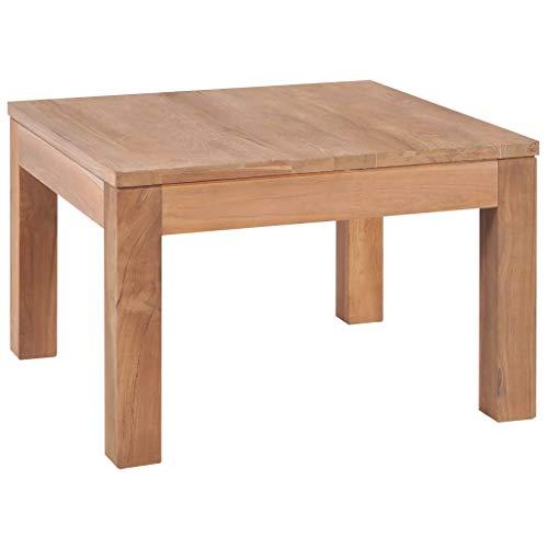 vidaXL Bois Teck Massif Table Basse Finition Naturelle Salon Table d'Appoint