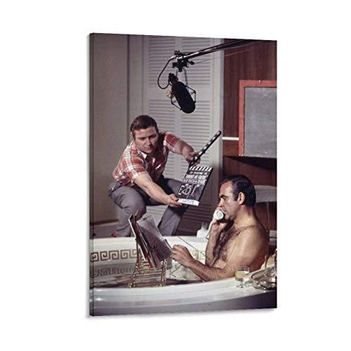 NQSB Film Stars Sean Connery 007 James Bond 21 - Stampa artistica su tela e poster da parete, 30 x 45 cm