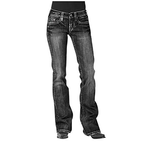 FELZ Pantalones De Mujer En Oferta Vaqueros Pantalones De Mezclilla para Mujer Cintura Media Bordado Estirar Vaqueros Jeans Rectos con Botones