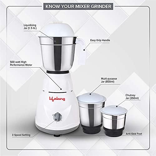 Lifelong LLMG45 500W Mixer Grinder with 3 Jars, White, Grey